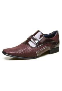 Sapato Social Calvest Em Couro Com Textura Bordô