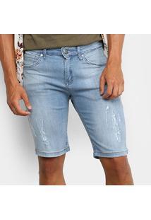 Bermuda Jeans Wrangler Estonada Masculina - Masculino-Azul