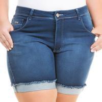 4363d7c60 Netshoes. Shorts Confidencial Extra Plus Size Jeans Cintura Alta Feminino  ...