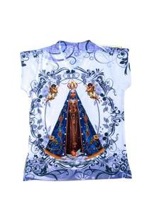 Camiseta Feminina Estampada Com Meia Perola Nossa Senhora Azul