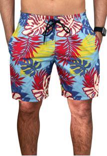 Bermuda Praia Estampada Masculina Floral Amarela Tactel Verão C/ Bolsos Laterais Ref.394.11