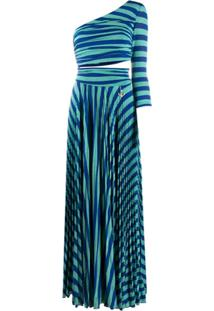 Elisabetta Franchi Vestido De Festa Com Listrado De Tigre - Azul