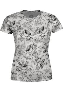 Camiseta Estampada Baby Look Over Fame Cinza