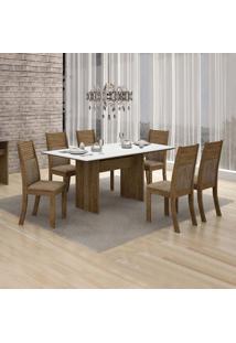 Conjunto De Mesa De Jantar Florença Com 6 Cadeiras Havai Veludo Ype Branco