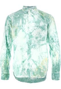 Comme Des Garçons Homme Plus Camisa Com Estampa Marmorizada - Green 6653394cc3709