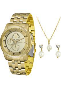 Kit Relógio Analógico Lince Feminino + Colar Com Brincos - Lmg4589L Kx93C2Kx Dourado
