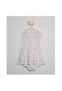Vestido Infantil Amplo Estampado Poá Manga Curta + Calcinha Off White