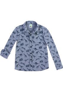 Camisa Infantil Menino Em Fio Tinto Com Mini Prints Puc