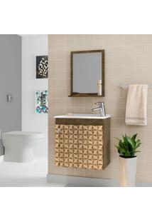 Conjunto Para Banheiro Siena Madeira Rústica E Madeira 3D