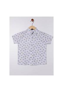 Camisa Estampada Manga Curta Juvenil Para Menino - Branco/Cinza