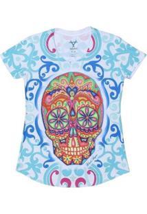 Camiseta Manga Curta Sugar Skull Black Angus Feminina - Feminino-Branco+Azul