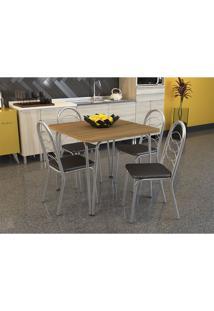 Conjunto De Mesa Amur Com 4 Cadeiras Holanda Cromado Preto Crome Kappesberg