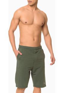 Bermuda Moletom Masculina Ck One Verde Militar Loungewear Calvin Klein - S