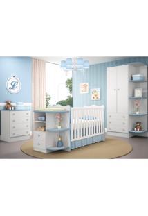 Jogo De Quarto Infantil Doce Sonho Com Berço Cômoda Branco Com Azul - Qmovi