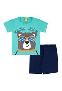 Pijama Infantil Masculino Camiseta Manga Curta Ursinho E Shorts Azul Marinho (4/6/8) - Gueda Kids - Tamanho 8 - Azul Marinho,Verde