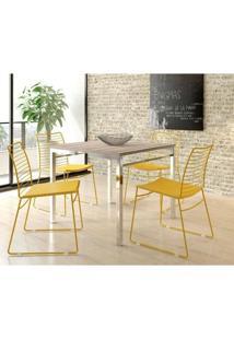 Conjunto De Mesa Carraro 1525 + 4 Cadeiras 1712 - Nogueira / Amarelo Ouro Cromado