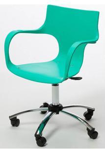 Cadeira Jim Base Giratoria Cromada Cor Verde Agua - 22596 - Sun House