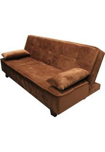 Sofa Cama Mage Com 2 Lugares Assento Veludo Marrom Claro Base Madeira Cor Tabaco - 52136 Sun House