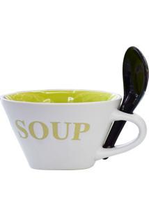 Bowl Soup Com Colher Tigela Verde Kasa Ideia - Multicolorido - Dafiti