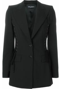 Dolce & Gabbana Blazer Com Amarração Lateral - Preto