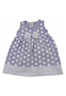 Vestido Para Bebê Happy Baby Lilás Com Bolinhas Brancas 100 % Algodão