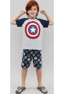 Pijama Infantil Capitão América Os Vingadores Manga Curta Cinza Mescla