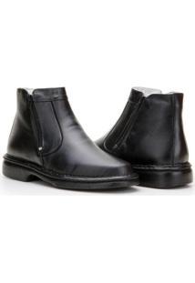 Bota Capelli Boots Couro Com Zíper Lateral Masculina - Masculino-Preto