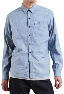 017356f65eed1 Camisa Levis Manga Longa Riveter Skateboarding Collection Azul Claro