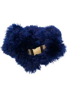 Mr & Mrs Italy Cachecol Com Pelos - Azul