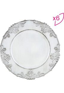 Jogo De Sousplats Flowers- Branco- 6Pã§S- Rojemacbon Gourmet