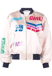 Mira Mikati Jaqueta Bomber 'Run Girl' Com Brilho - Rosa
