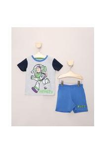 Pijama Infantil Buzz Lightyear Cinza Mescla