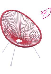 Jogo De Cadeiras Acapulco- Vermelho & Branco- 2Pã§S