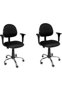 Conjunto Com 2 Cadeiras De Escritório Secretária Giratória Executiva Preto E Cromado