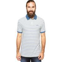 Camisa Polo Levis Listrada Off-White Azul 2216554d4dd14