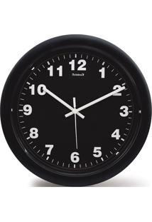 Relógio De Parede Em Plástico Redondo 30Cm Preto