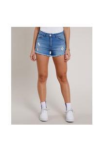 Short Jeans Feminino Reto Cintura Alta Destroyed Azul Médio