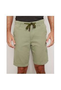 Bermuda Masculina Reta Texturizada Com Cordão Verde Militar