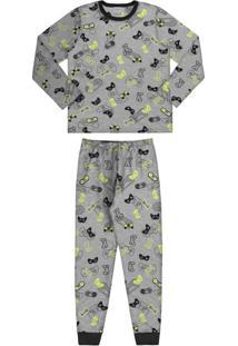 Pijama Meia Malha Cinza