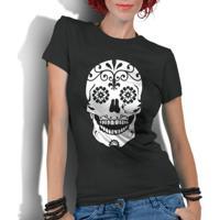 Camiseta Criativa Urbana Caveira Mexicana Flores - Feminino 7e7f22ea4f6c2