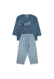 Conjunto Pijama Meninos Dino Com Calça Em Estampa Rotativa