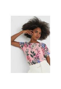 Camiseta Lança Perfume Floral Rosa
