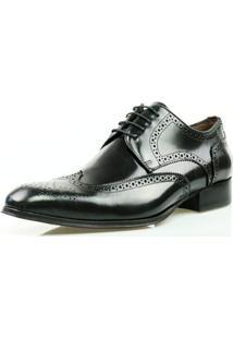 c54527638 Sapato Social Oxford Classico Couro Masculino - Masculino-Preto