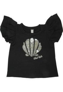 Camiseta Gira Baby Kids Infantil Bordado Concha Preta