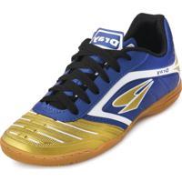 c22d88251f4e3 Chuteira Futsal Dray Topfly Iv Juvenil Dr18-363Co Marinho-Ouro