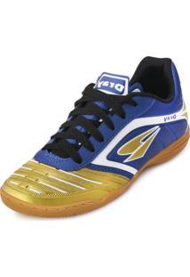 Chuteira Futsal Dray Topfly Iv Juvenil Dr18-363Co Marinho-Ouro 385c790add395