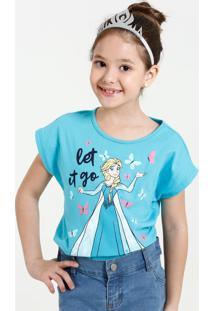 0aa8155b0ec588 Blusa Infantil Estampa Elsa Frozen Coroa Disney