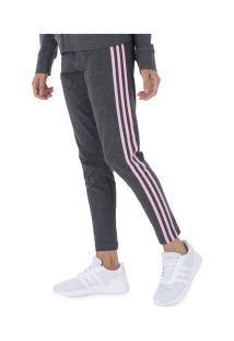 Calça Legging Adidas Essentials 3S Tight - Feminina - Cinza Esc/Rosa