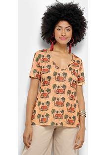 Camiseta Cantão Local Sape Feminina - Feminino-Salmão