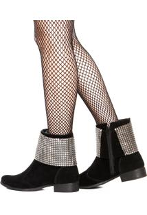 Bota Dafiti Shoes Camurça Tela Preta